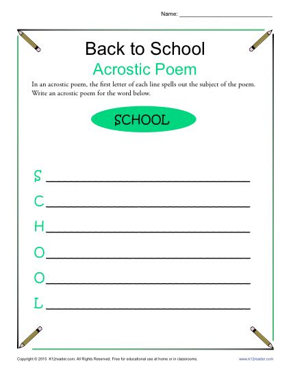 Free, Printable Back to School Acrostic Poem Activity