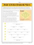 Back to School Diamante Poem Activity - Printable Worksheet for Elementary School