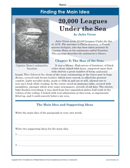 Leagues Main Idea on inferences worksheets for 2nd grade