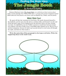 3rd or 4th grade main idea worksheet about the jungle book. Black Bedroom Furniture Sets. Home Design Ideas