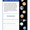 Main Idea Activity - Planets in the Solar System