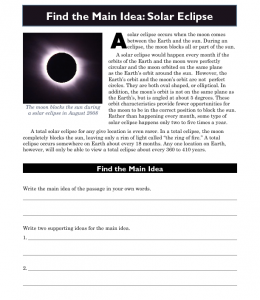 high school main idea worksheet about solar eclipses. Black Bedroom Furniture Sets. Home Design Ideas