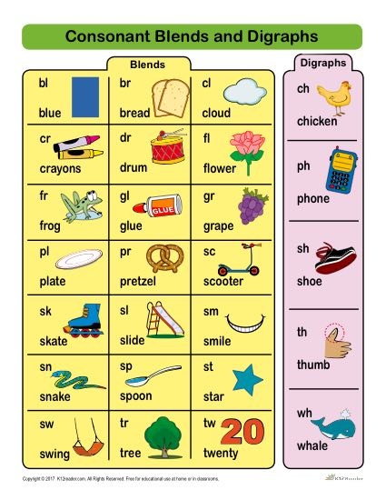 Free, Printable Workbook with 24 Common Consonant Blends and Digraph Worksheet Activitites
