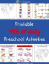 4th of July Preschool Theme Activities
