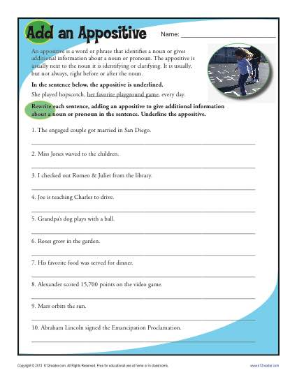 Appositive worksheet 4th grade