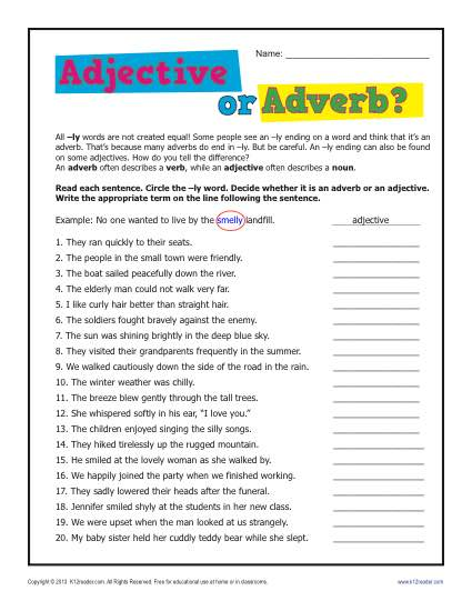 adjective worksheets for 5th grade