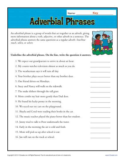 adverbial phrases free printable adverb worksheets. Black Bedroom Furniture Sets. Home Design Ideas