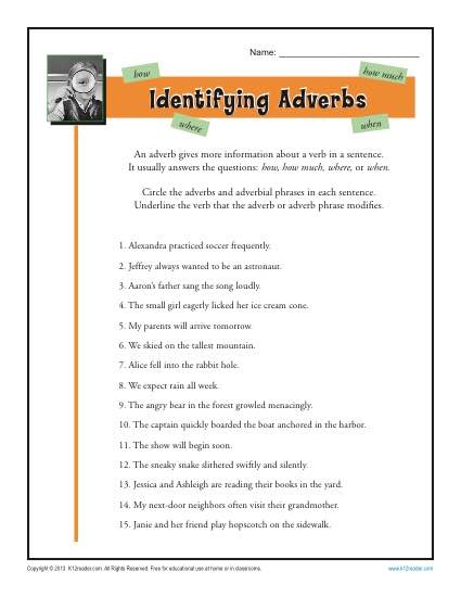 Identifying Adverbs | Free, Printable Adverb Worksheets