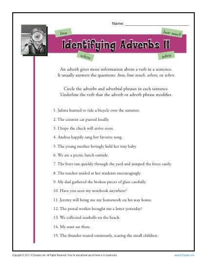 identifying adverbs ii free printable adverb worksheets. Black Bedroom Furniture Sets. Home Design Ideas