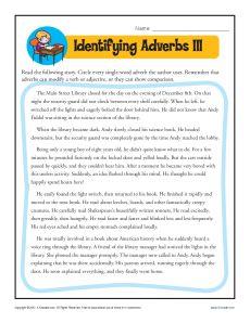 Identify the Adverbs III - Printable Worksheet Activity