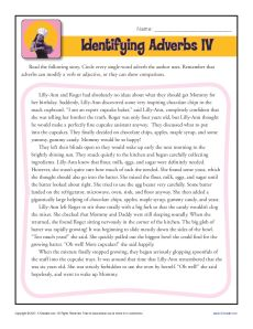 Adverb Worksheet Activity - Identifying the Adverbs
