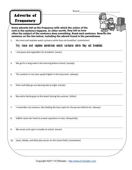 Printable Adverbs Worksheet- Adverbs of Frequency