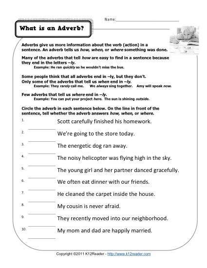 Adverb Worksheet - What is an Adverb?