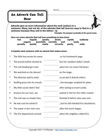 Free, Printable Adverb Worksheet - Adverbs Can Tell How