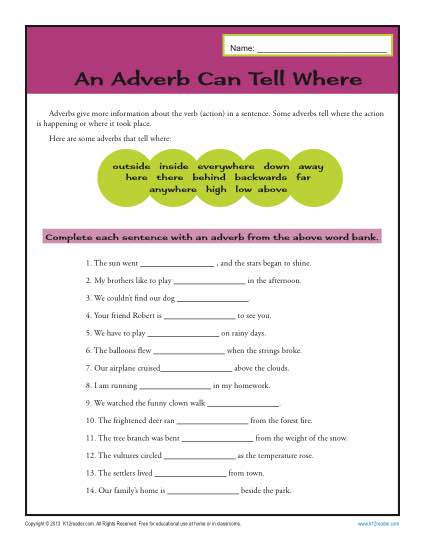 Printable Adverb Activity - An Adverb Can Tell Where