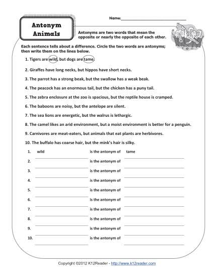 Printable Antonym Activity - Animals
