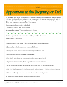 Appositives at Beginning or End - Free, Printable Worksheet Practice Activity