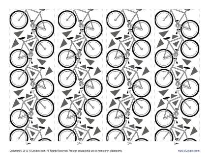 Printable Bookmark for Kids - Bikes