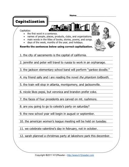 Free, Printable Capitalization Worksheet Lesson Activity
