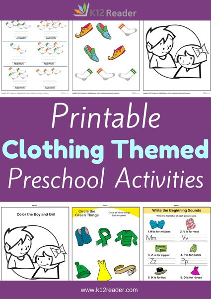 Clothing Themed Printable Activities for Preschool