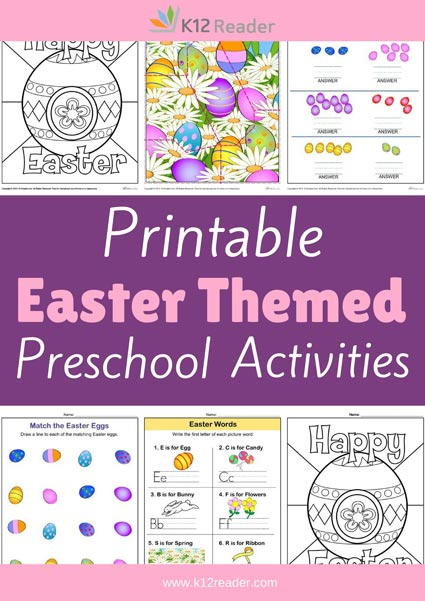 Easter Themed Printable Activities for Preschool