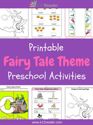 Fairy Tale Themed Printable Activities for Preschool