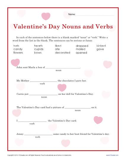 graphic regarding Valentine Puzzles Printable called Valentines Working day Nouns and Verbs Worksheet for 2nd Quality