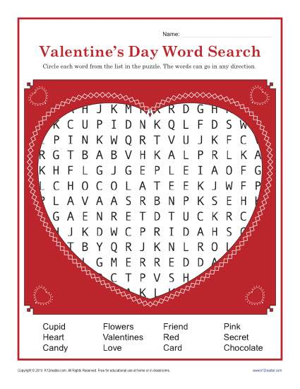photograph regarding Valentines Puzzles Printable identified as Valentines Working day Worksheet Term Glimpse for 3rd and 4th Quality