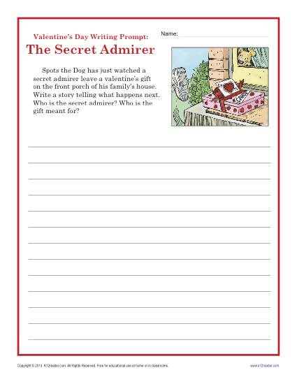 valentine 39 s day worksheet sectret admirer writing prompt 4th 5th grade. Black Bedroom Furniture Sets. Home Design Ideas
