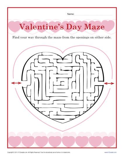 Valentine S Day Worksheet Maze Kindergarten And 1st Grade