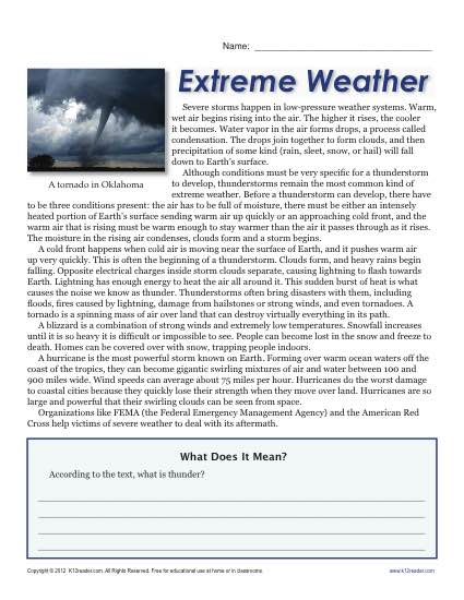 Sixth Grade Reading Comprehension Worksheet | Extreme Weather