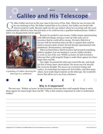 Sixth Grade Reading Comprehension Worksheet Galileo And His Telescope