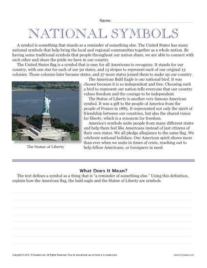 Sixth Grade Reading Comprehension Worksheet Us National Symbols