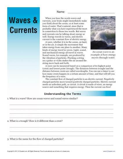 sixth grade reading comprehension worksheet waves and currents. Black Bedroom Furniture Sets. Home Design Ideas