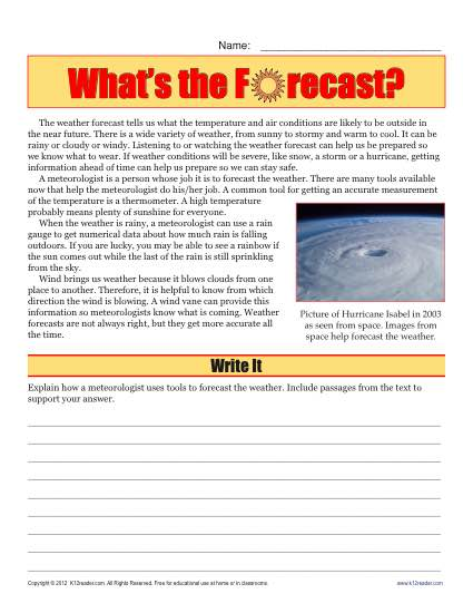 Sixth Grade Reading Comprehension Worksheet Whats The Forecast
