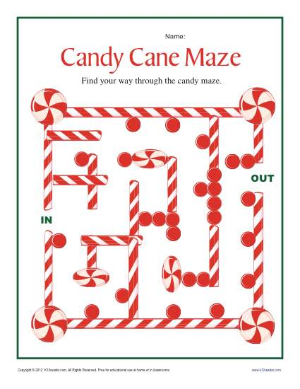 Candy Cane Maze Worksheet for 2nd and 3rd Grade