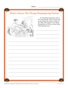 5th Grade Writing Worksheet - Write a Thanksgiving Story