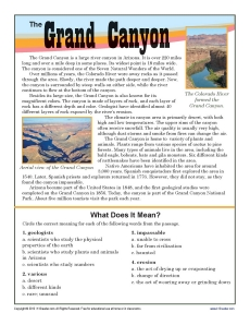 Grand Canyon | 7th Grade Reading Comprehension Worksheet