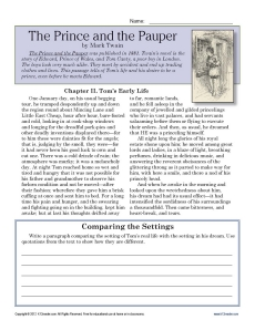 The Prince and the Pauper | 7th Grade Reading Comprehension Worksheet