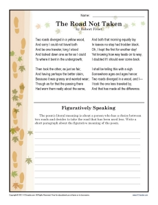 The Road Not Taken | 7th Grade Reading Comprehension Worksheet