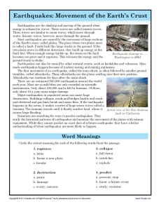 earthquakes 7th grade reading comprehension worksheet. Black Bedroom Furniture Sets. Home Design Ideas