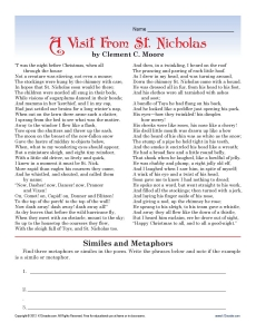 A Visit From St. Nicholas | High School Christmas Worksheet