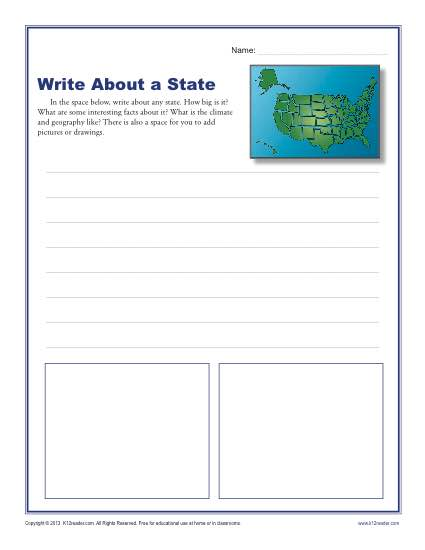 1st and 2nd Grade Writing Worksheet - Write About a State
