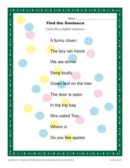 find the sentence 1st and 2nd grade sentence worksheets. Black Bedroom Furniture Sets. Home Design Ideas