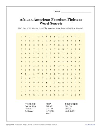 Freedom Fighter's Word Search | Black History Month Worksheets