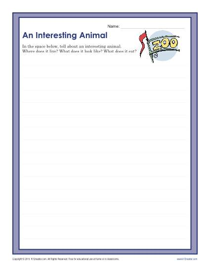 An Interesting Animal Writing Prompt Worksheet