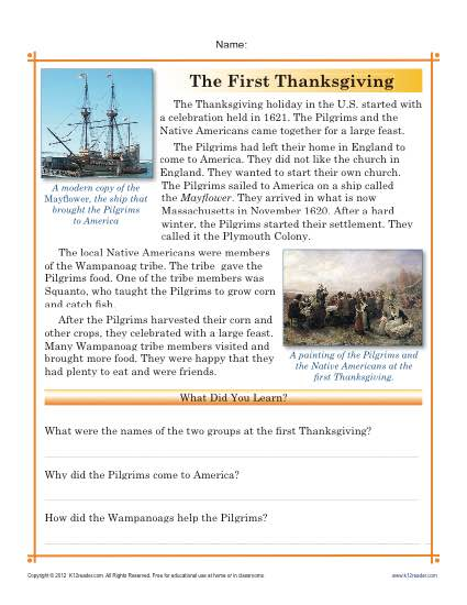 thanksgiving worksheets the first thanksgiving reading passage and