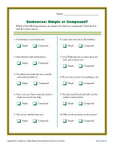 Simple or Compound Sentence Worksheets | 1st through 3rd Grade