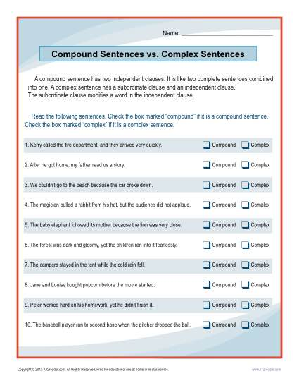 Compound Sentences vs. Complex Sentences Worksheet