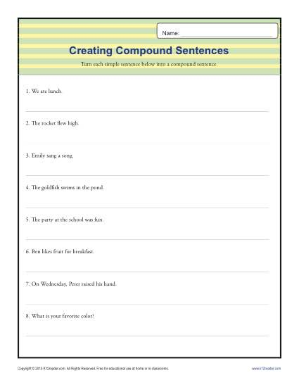 Compund Sentence Worksheet | 1st through 3rd Grade